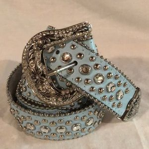Leather western bling belt